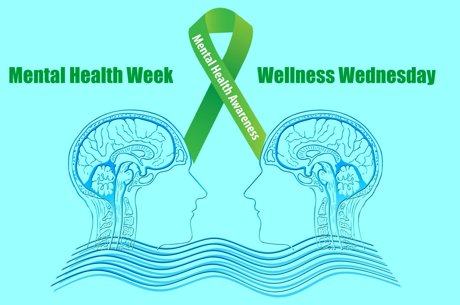 illustration of 2 minds meeting with green mental health awareness ribbon for health week