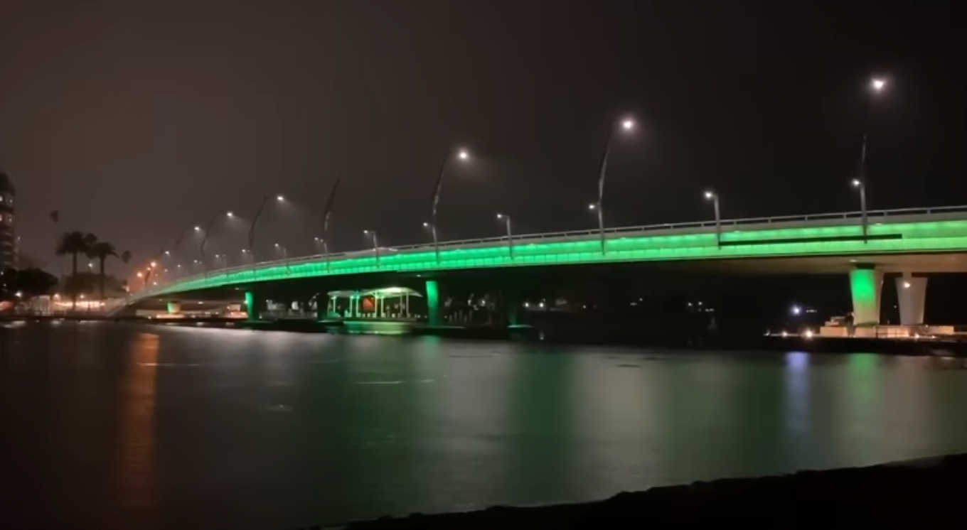 Mandurah Bridge at night with green lights for mental health week.