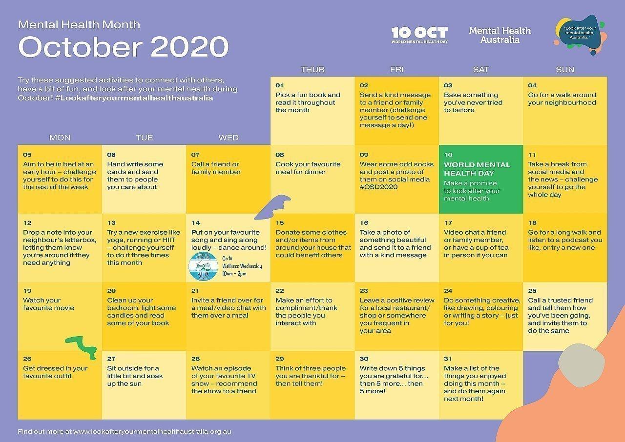 mental health week 2020 calendar